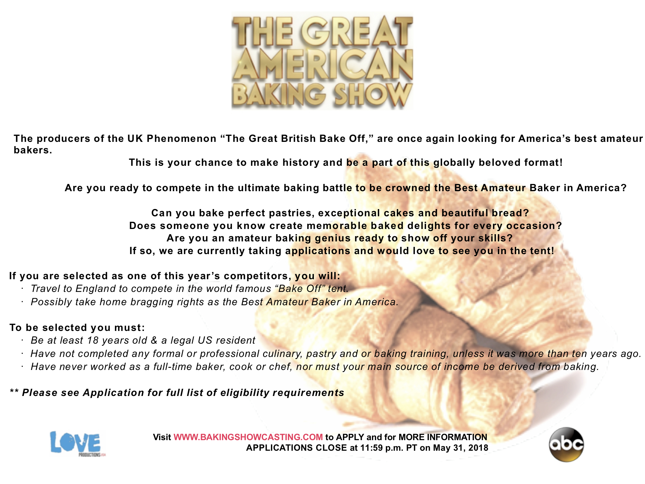 Casting Call: The Great American Baking Show