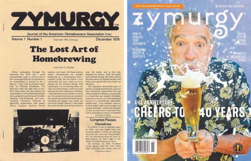 First issue of Zymurgy from December 1978 and the November/December 2018 issue.